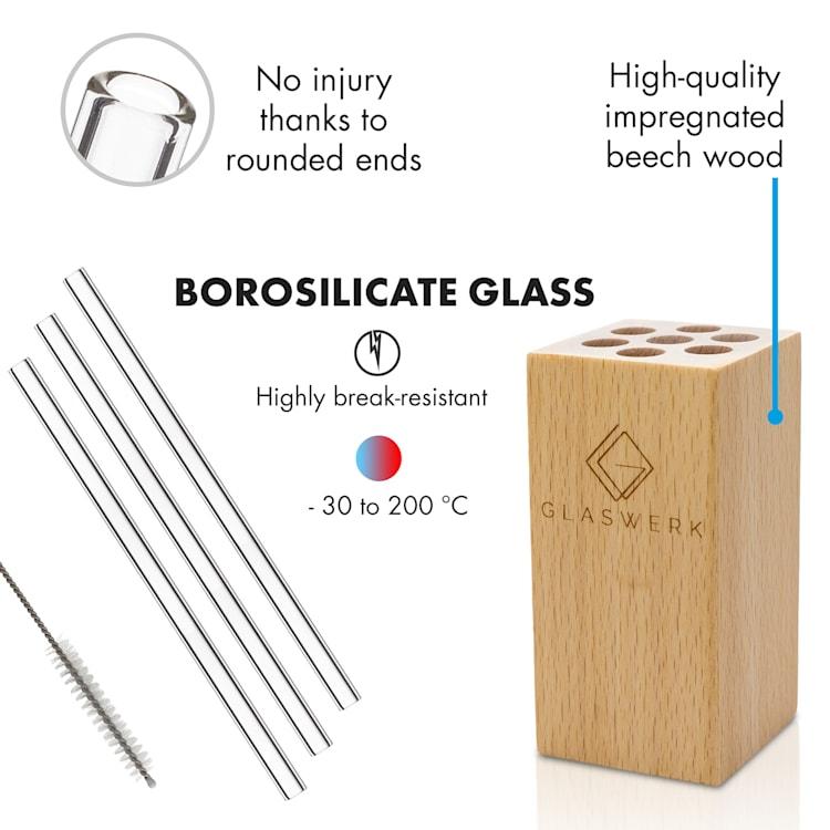 Salizzada Pailles en verre 7 pièces 0,8 x 20 cm (ØxH) support en bois brosse 20 cm