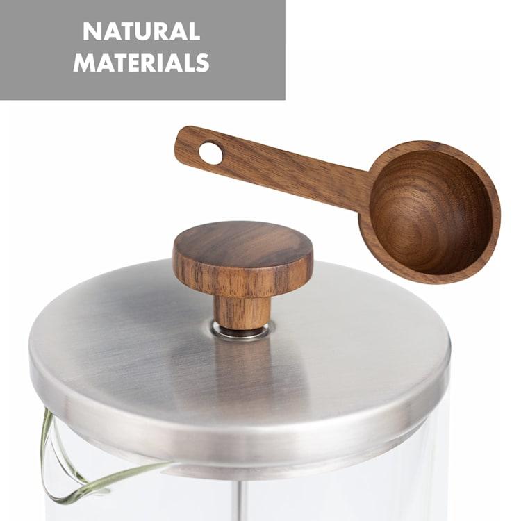Ristretto cafetière à piston 1 litre verre borosilicaté acier inoxydable bois de noyer 1 Ltr