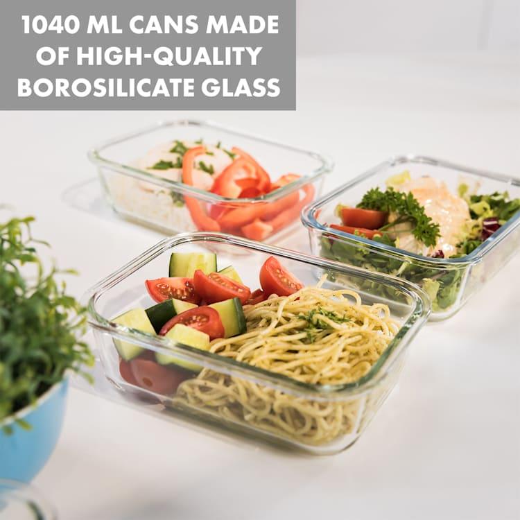 Jardine boîtes de conservation lot de 3, 1 compartiment 1040 ml verre borosilicaté couvercle