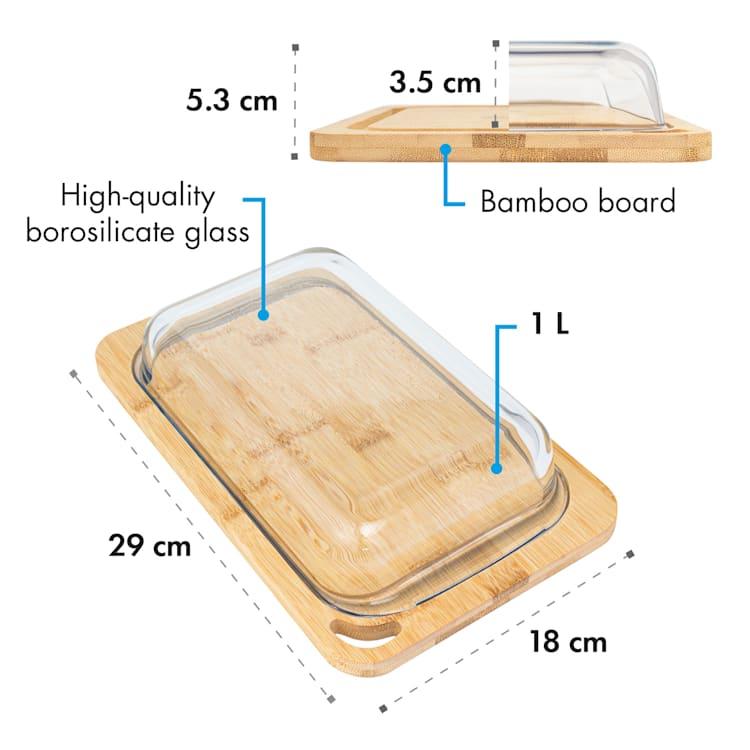 Hermatige Fiambrera con tapa de cristal Juego de 2 unidades Vidrio de borosilicato Bambú Tabla de cortar