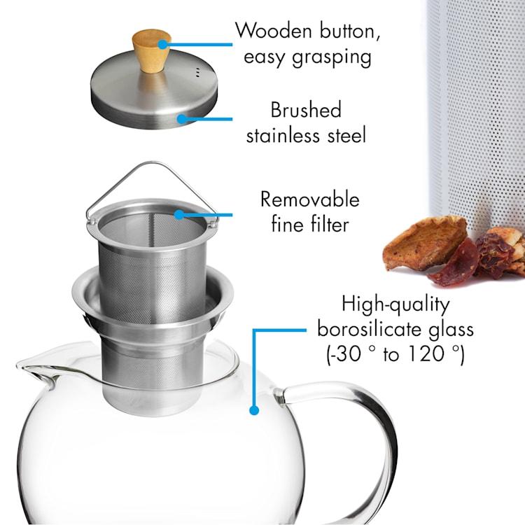 Théière Sencha 1,8 l avec filtre en inox et couvercle en verre borosilicaté  1,8 Ltr