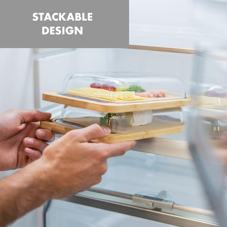 Glaswerk Hermatige, dóza na údeniny so skleneným krytom, borosilikátové sklo, bambusová doska na krájanie