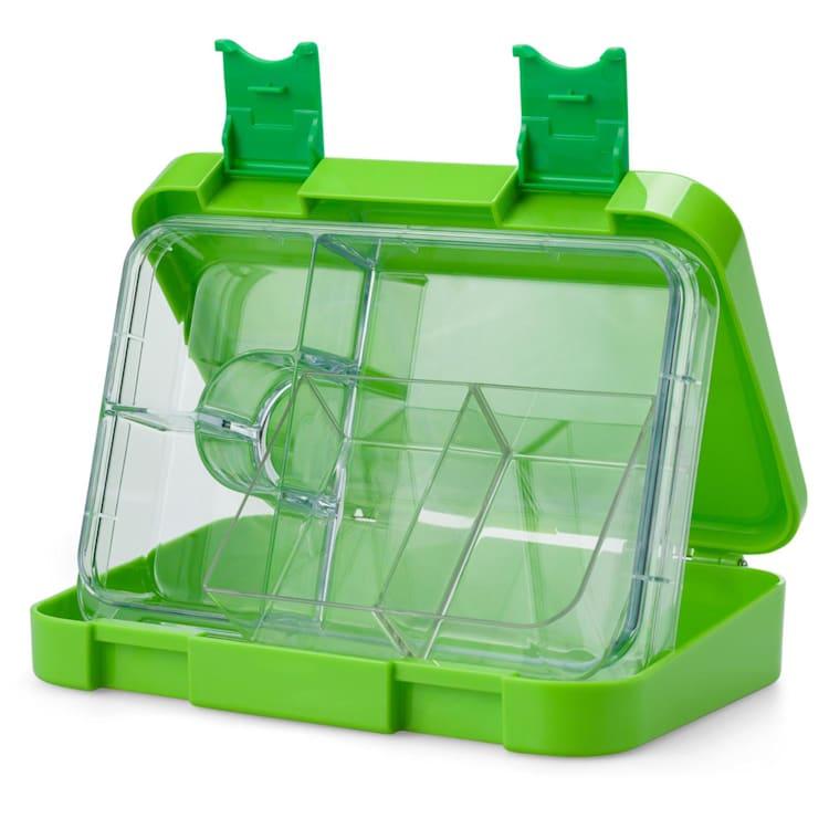 schmatzfatz junior, pojemnik na lunch, 6 przegródek, 21,3 x 15 x 4,5 cm (szer. x wys. x gł.) Zielony