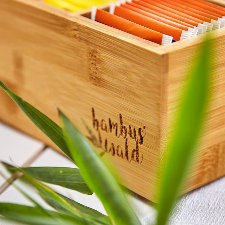 Caja para té 6 compartimentos 90 bolsitas de té Ventanilla de plástico Bambú 6 compartimentos