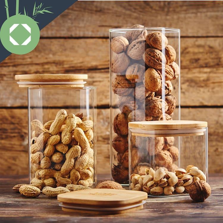 Квадратен буркан за съхранение на храна с бамбуков капак, херметичен, със силиконово уплътнение, 10 × 10 × 10 см, 700 мл  700 ml