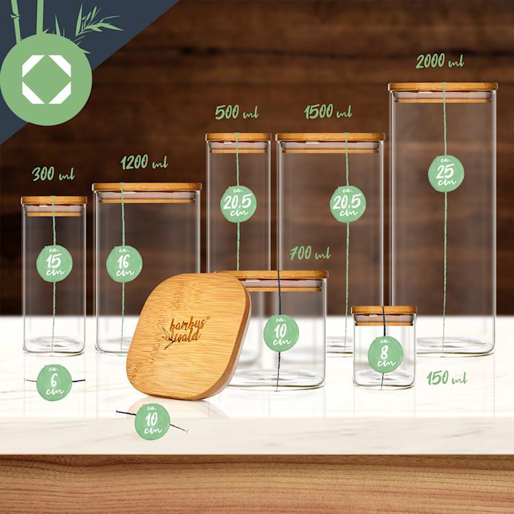 Bocal carré avec couvercle en bambou hermétique avec joint en silicone 10 x 16 x 10 cm 1200 ml 1200 ml