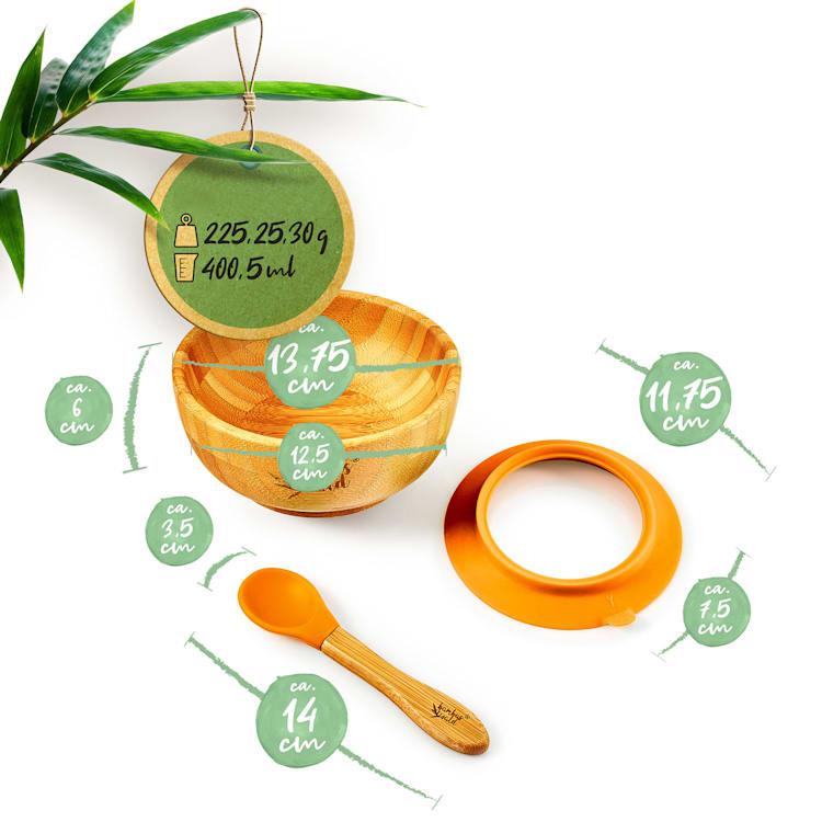 Vajilla para niños con bol de bambú y cuchara de 400 ml incl. ventosa Ø: 13,7 cm Naranja