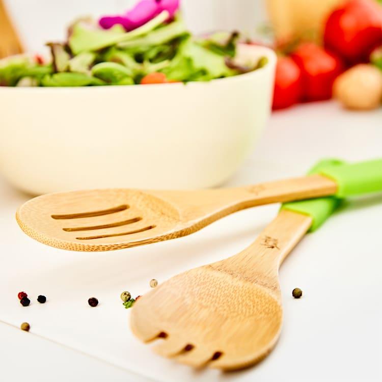 Accessoires de cuisine set de 5 spatules   manches en silicone   durable   bambou