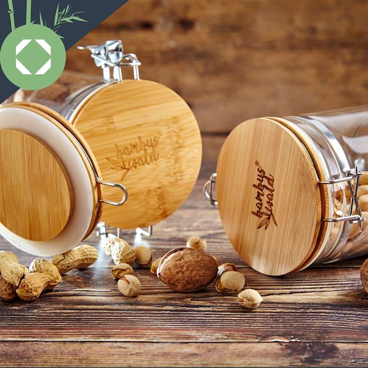 Juego de 3 botes con tapa de bambú Cierre metálico 550 ml, 900 ml y 1250 ml
