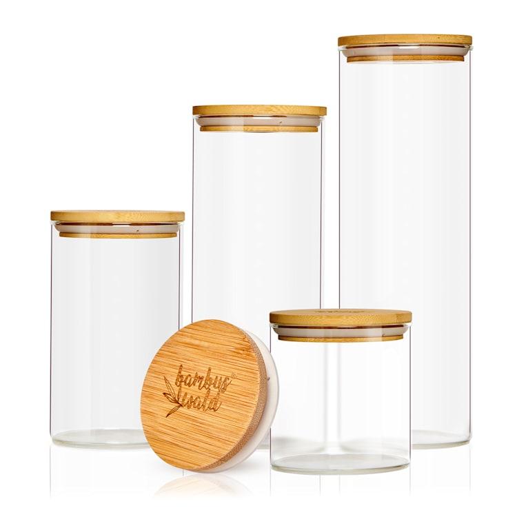 Къгъл съд за съхранение на храна,  съд с бамбуков капак, комплект 4 броя,  600 ml, 1000 ml a 1500 ml, 1800 ml