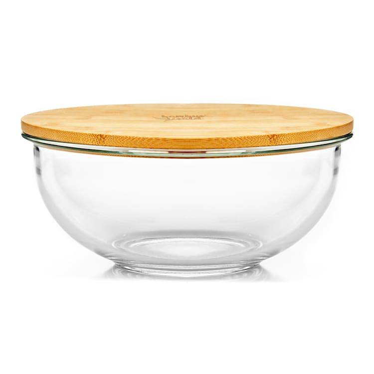 Misa szklana, 3200 ml, pokrywka bambusowa, zamykana, bez BPA, rozmiar XL 3200 ml