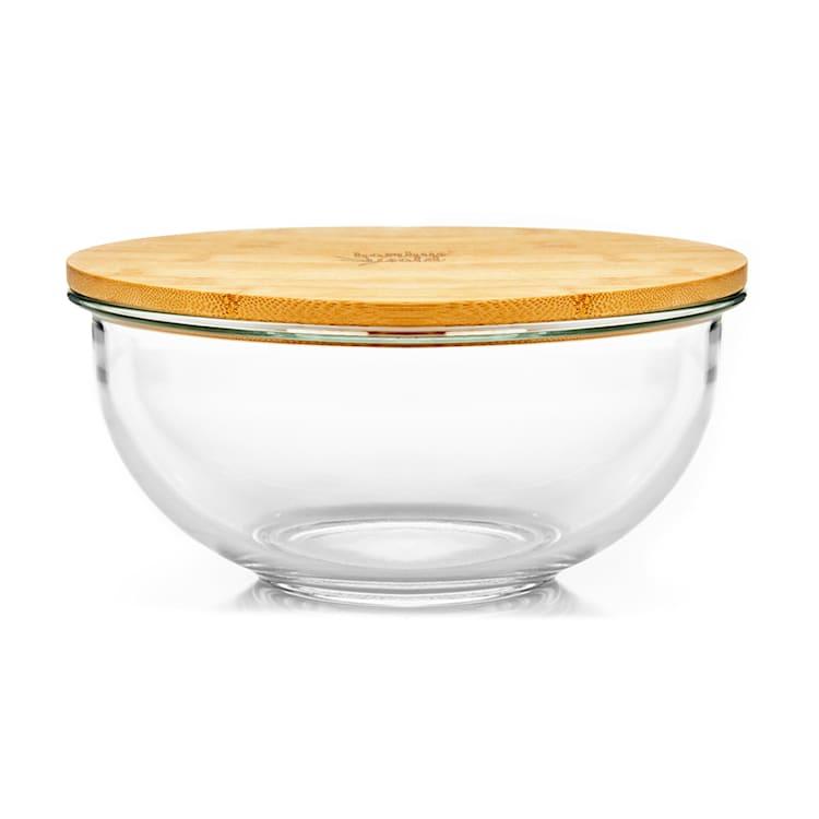 Cuenco de cristal 1365 ml Tapa de bambú Apilable Sin BPA Tamaño M 1365 ml