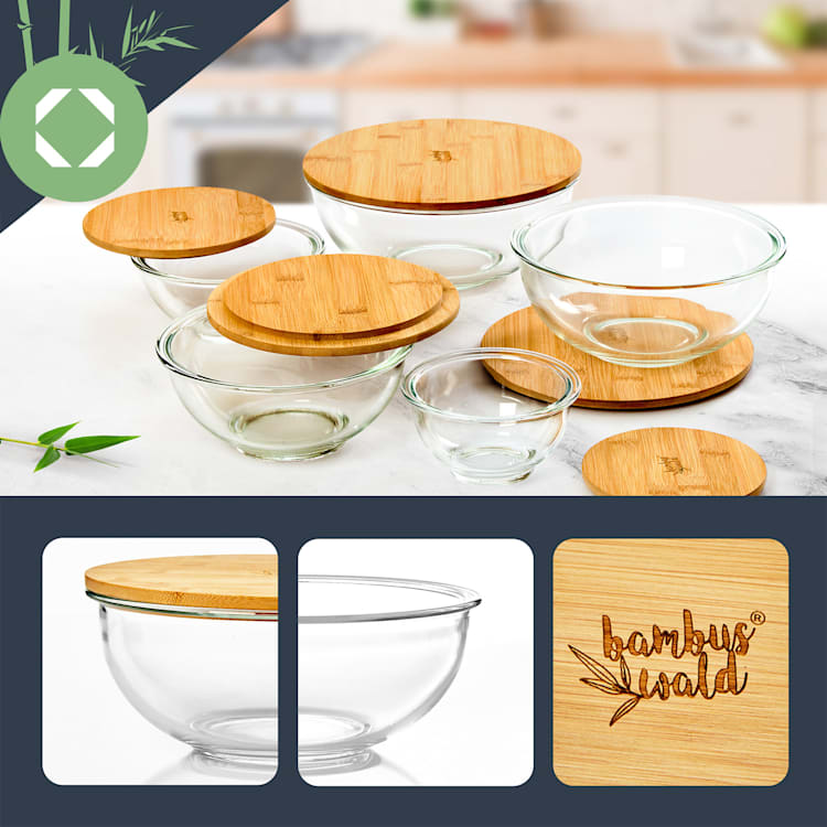 Saladier en verre 865 ml avec couvercle en bambou verrouillable sans BPA taille S 865 ml