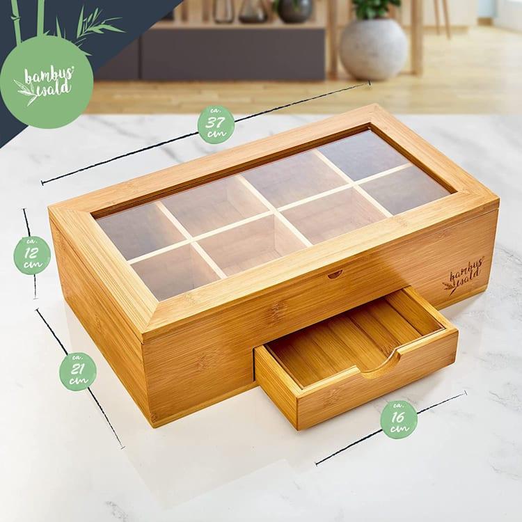 Caja de té con compartimento adicional 8 compartimentos 120 bolsitas de té Ventanilla de plástico Bambú