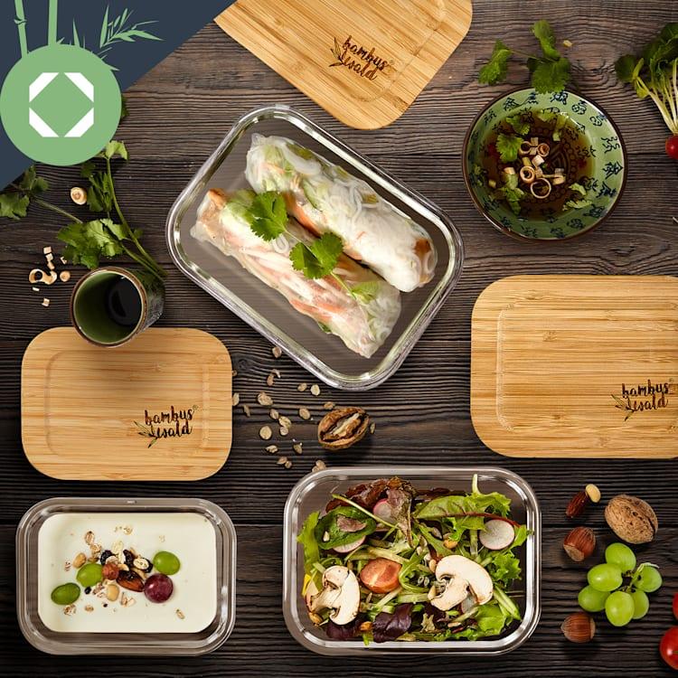 Set recipiente pătrate pentru depozitarea alimentelor, sticlă, capac din bambus, 4 bucăți, diferite dimensiuni