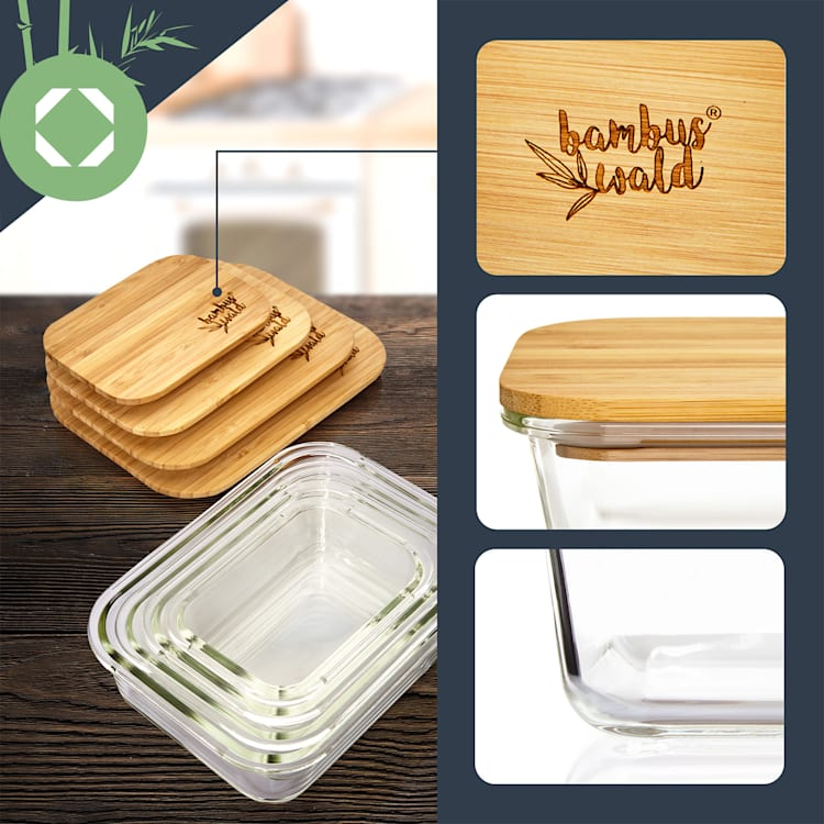 Fiambrera con tapa de bambú 2260 ml Hermético Almacenaje libre de plástico 2260 ml