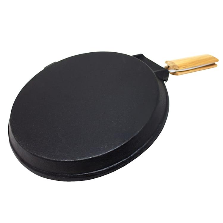 Retinta Grill et Steak Pan rond en fonte pré-cuit Poignée en bois Rond