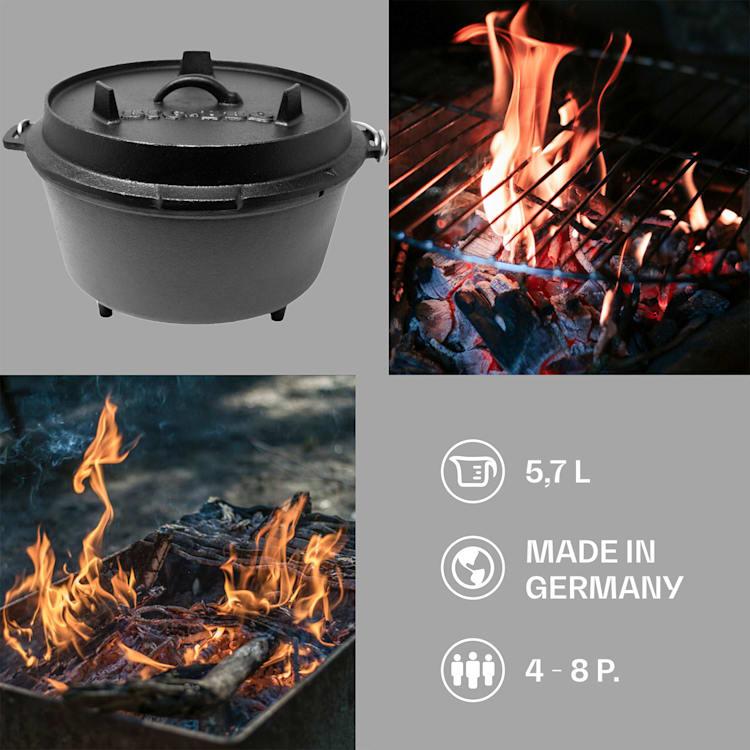 Olla Guernsey Premium Dutch Oven 6.0 BBQ hierro fundido pies de apoyo tamaño M / 6 qt ca. 7 Ltr / 6 qt