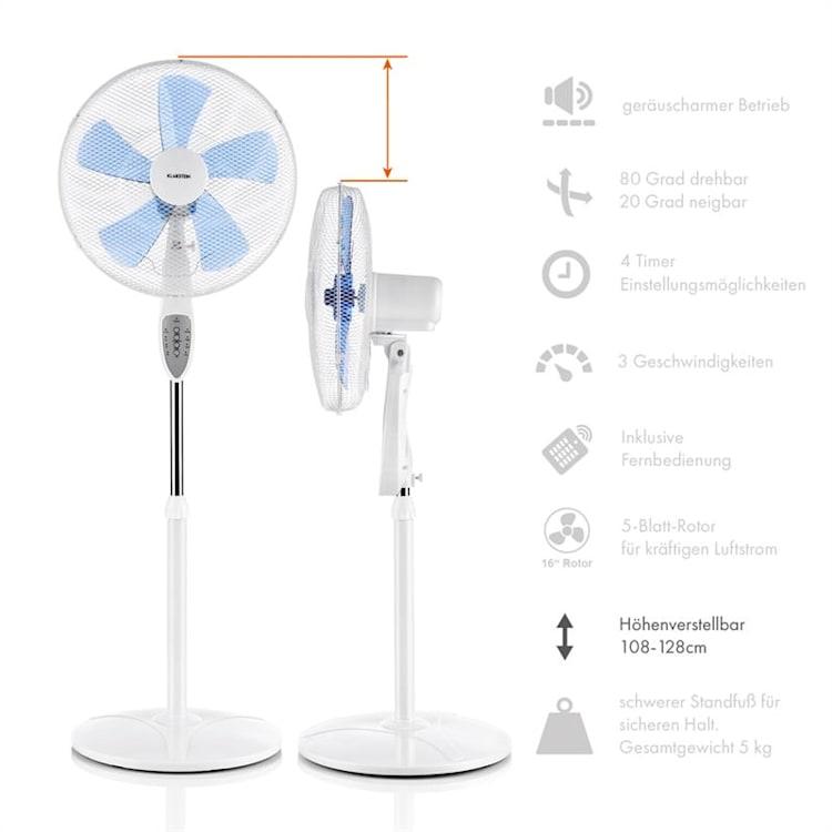 SUMMERJAM, 2 x ventilator cu suport, set de două ventilatoare, 50 W, 3 trepte, alb