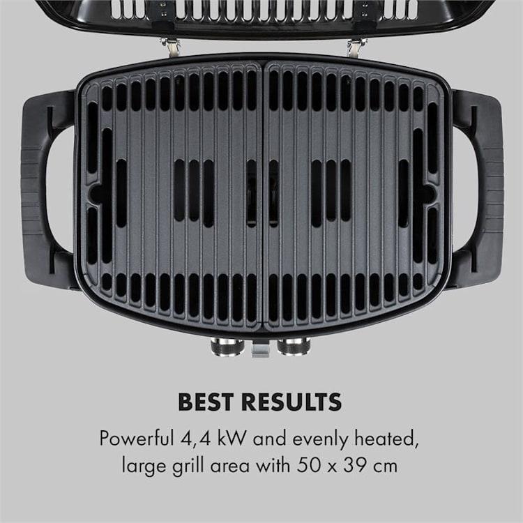 Parforce Duo, plynový gril, plynová hadice, grilovací stůl, 4,4 kW, 15000 BTU, šedý Šedá
