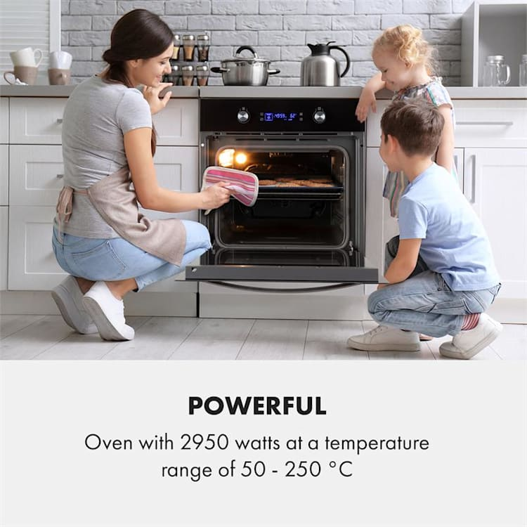 Klarstein Gusteau Ignito Built-In Stove Set Electric / Gas 64Ltr Black Stainless Steel
