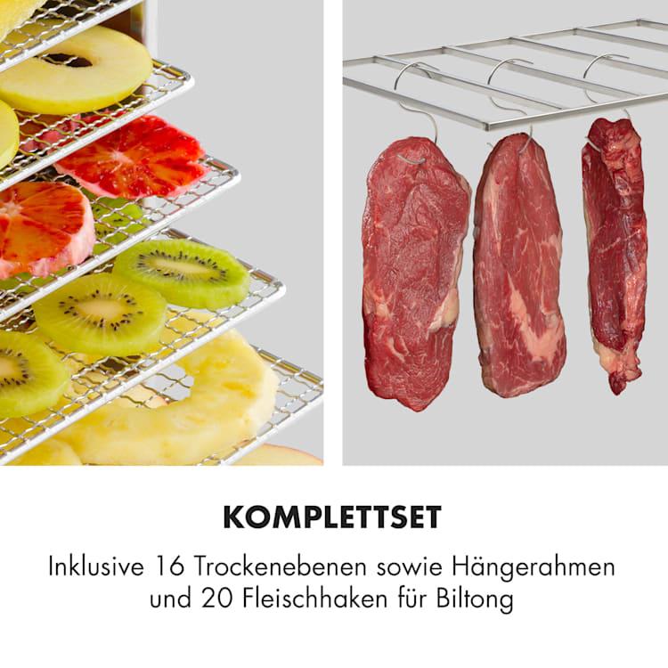 Master Jerky 16 Dörrautomat + Fleischhaken Set 1500W 40-90 °C 15h-Timer Edelstahl silber