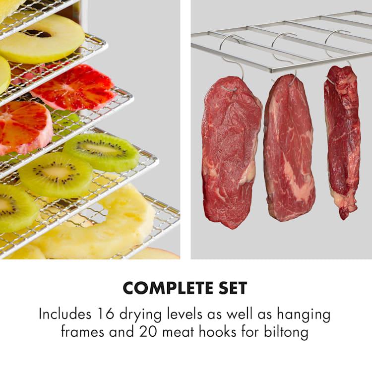 Master Jerky 16 voedseldroger + vleeshaken set 1500W rvs zilver