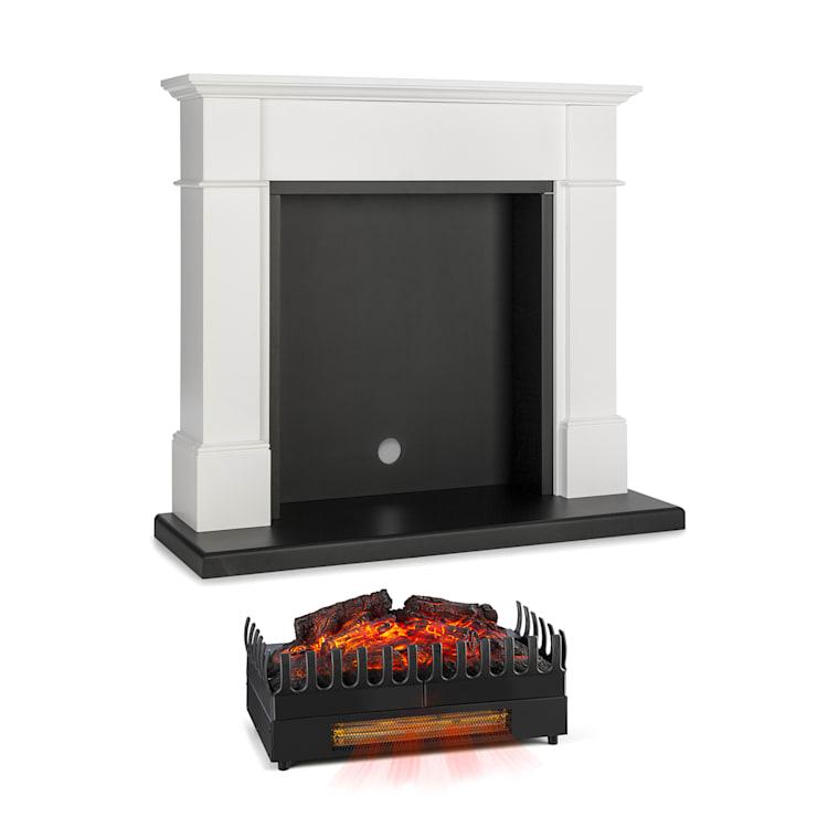 Biel, kandallószerkezet, Kamini FX, kandallóbetét, 2000 W, MDF, fehér with fireplace inset with heating function