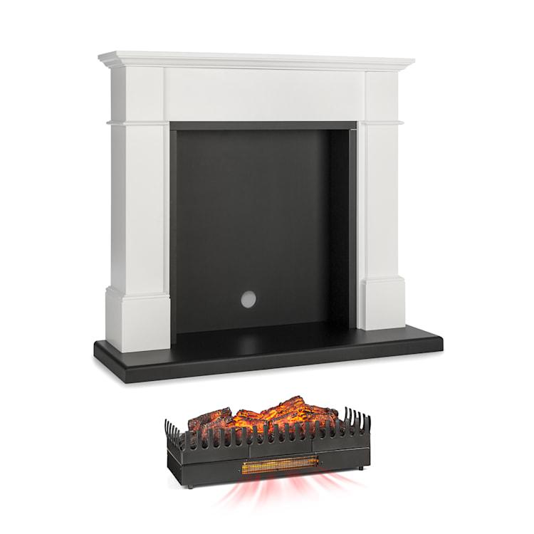Biel, konštrukcia krbu, Kamini FXL, krbová vložka, 2000 W, MDF, biela with large fireplace inset with heating function