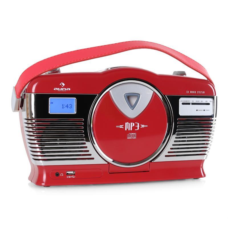 Auna RCD-70RE, retro rádio, FM, USB, CD, baterie