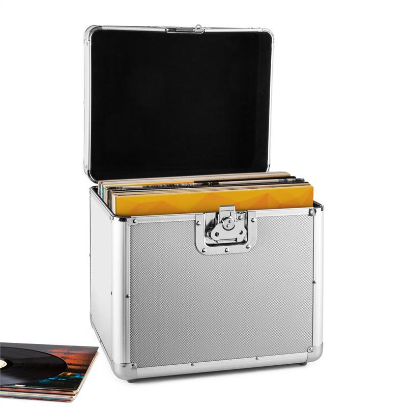 Resident DJ Zeitkapsel, hliníkový kufr na desky, 70 kusů, LP, stříbrný