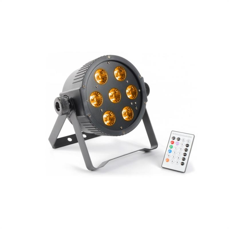 Beamz FlatPAR, 7 x 15 W, 5-v-1 RGBAW-LED, DMX IR, včetně dálkového ovládání