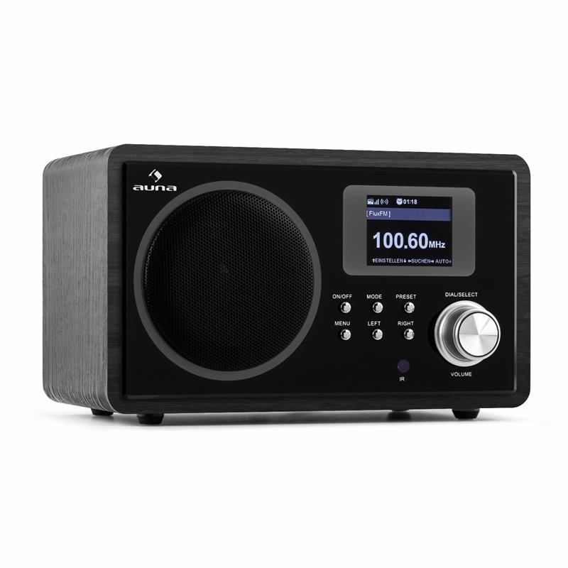 Auna IR-150, internetové rádio, FM, DLNA, WLAN, retro, dálkové ovládání, dřevěná skříň