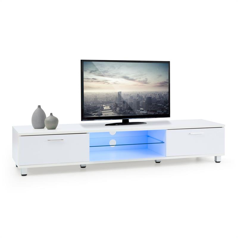 OneConcept Keira Lowboard, TV stolek, bílý, LED osvětlení, změna barev