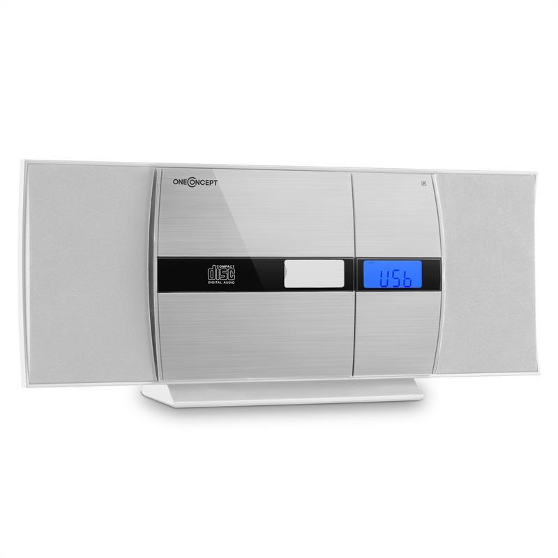 OneConcept V-15, bílý, stereo systém, CD, USB, MP3, FM, AUX, budík
