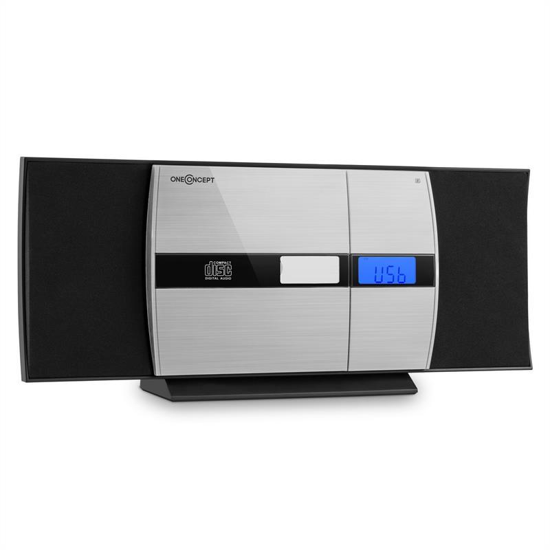 OneConcept V-15-BT, černý, stereo systém, bluetooth, CD, USB, MP3, FM, AUX, budík