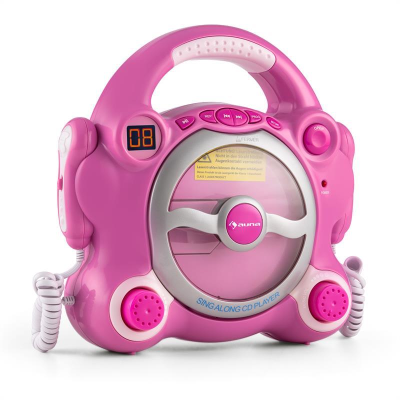 Auna Pocket Rocker, růžový, karaoke systém s CD přehrávačem, Sing A Long, 2 mikrofony, baterie