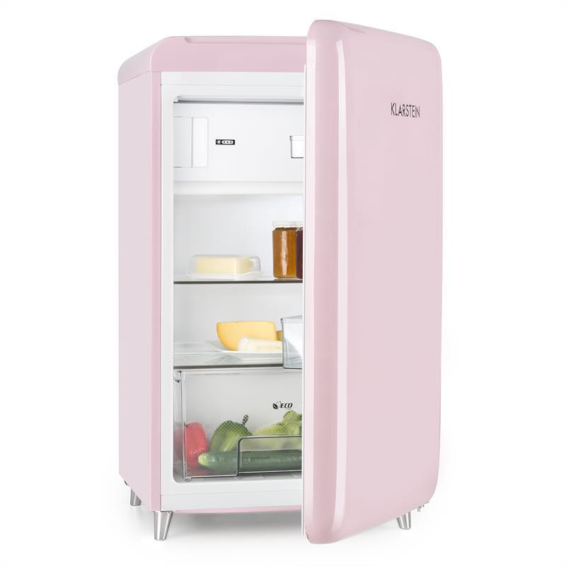 Klarstein PopArt Pink retro chladnička A++, 108 l / 13 l mraziarenský priestor, ružová