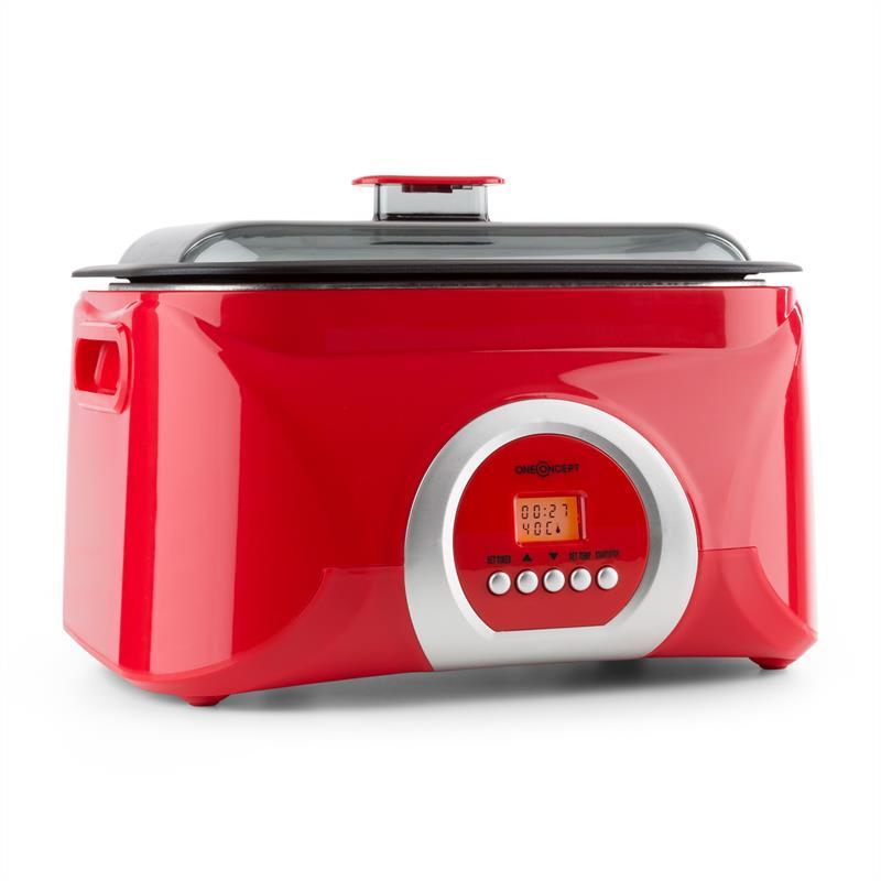 OneConcept Sanssouci, červený, Sous-Vide vařič, pomalé vaření, 5 l, 300 W