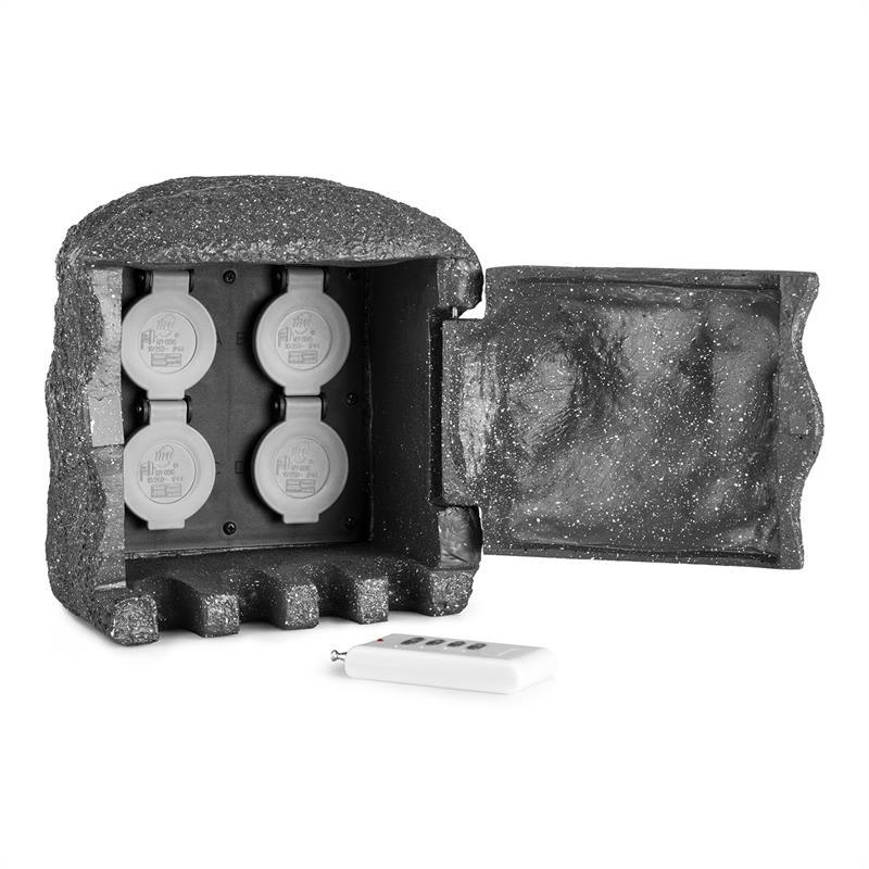 Levně Waldbeck Power Rock Remote, zahradní zásuvka, 4-itý rozdělovač, 1.5 m, dálkové ovládání, skála, tmavě šedá