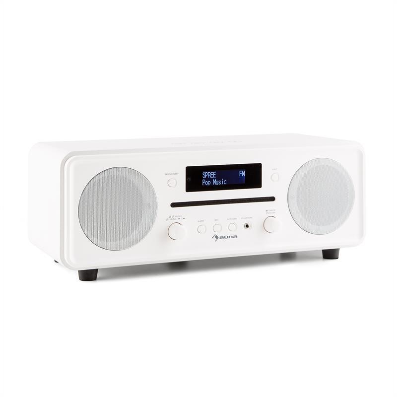 Auna Melodia CD, bílé, DAB + / FM stolní rádio, CD přehrávač, bluetooth, alarm, opakované buzení