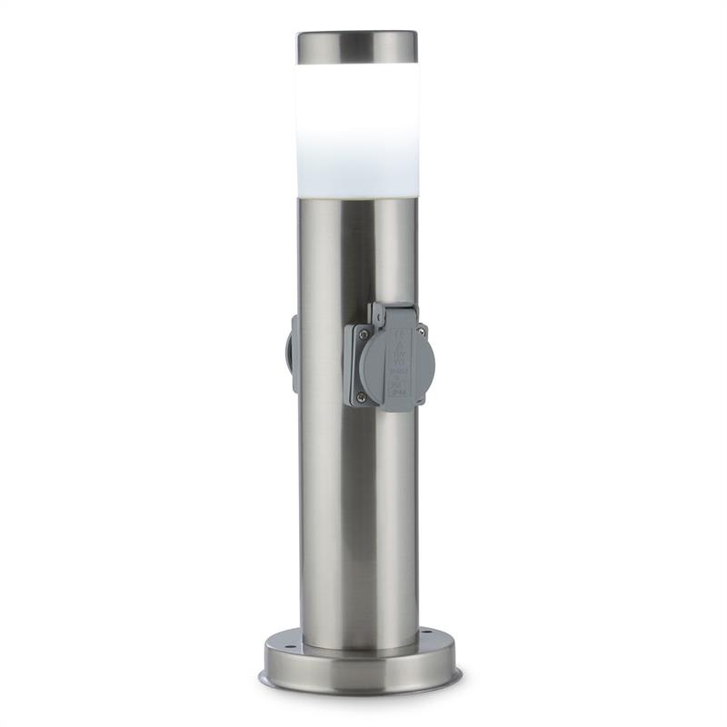 Waldbeck Monolite, zahradní zásuvka, venkovní osvětlení, 2 ochranné kontakty, kulatý tvar, ušlechtilá ocel