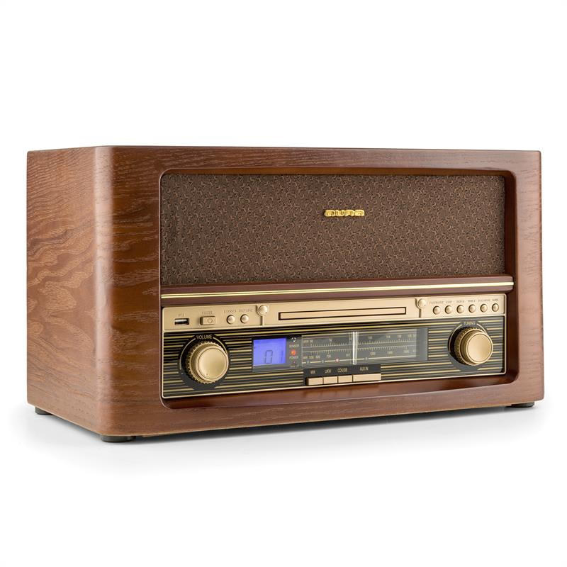 Auna Belle Epoque 1906, retro stereo systém, CD, USB, MP3, AUX, FM  AM