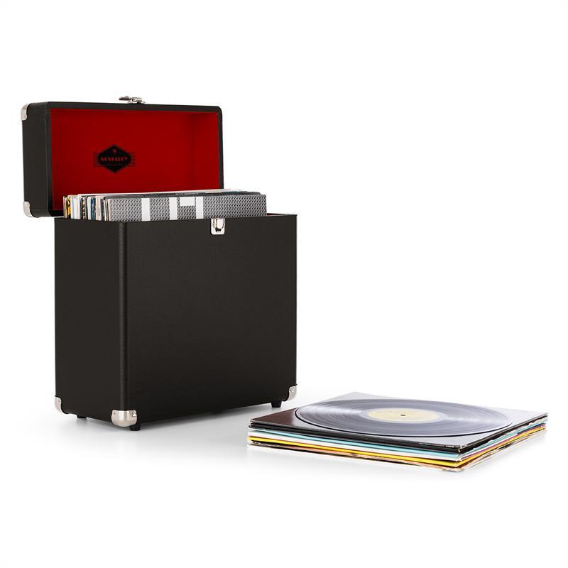 Auna TTS6, černý, kufr na desky, kůže, nostalgický, 30 LP desek