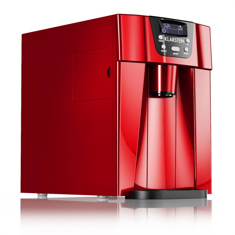 Klarstein Ice Volcano 2G přístroj na výrobu ledu LED; 12kg každých 24h; 2 l; 6–10 min červená