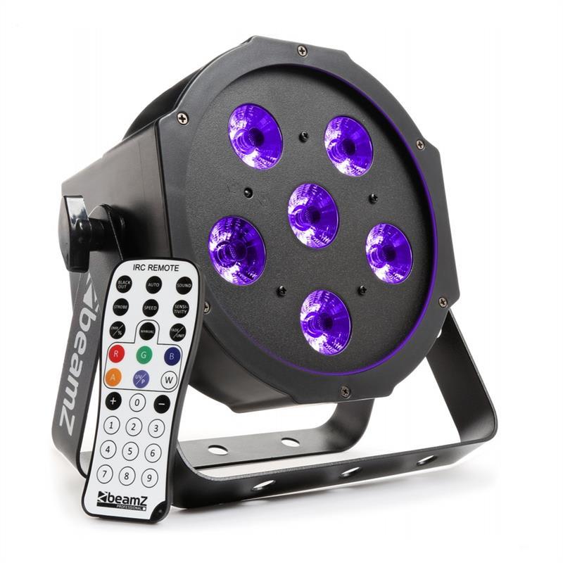 Beamz BFP130 FlatPAR, 6x 6W UV LED diody, DMX, IR dálkové ovládání