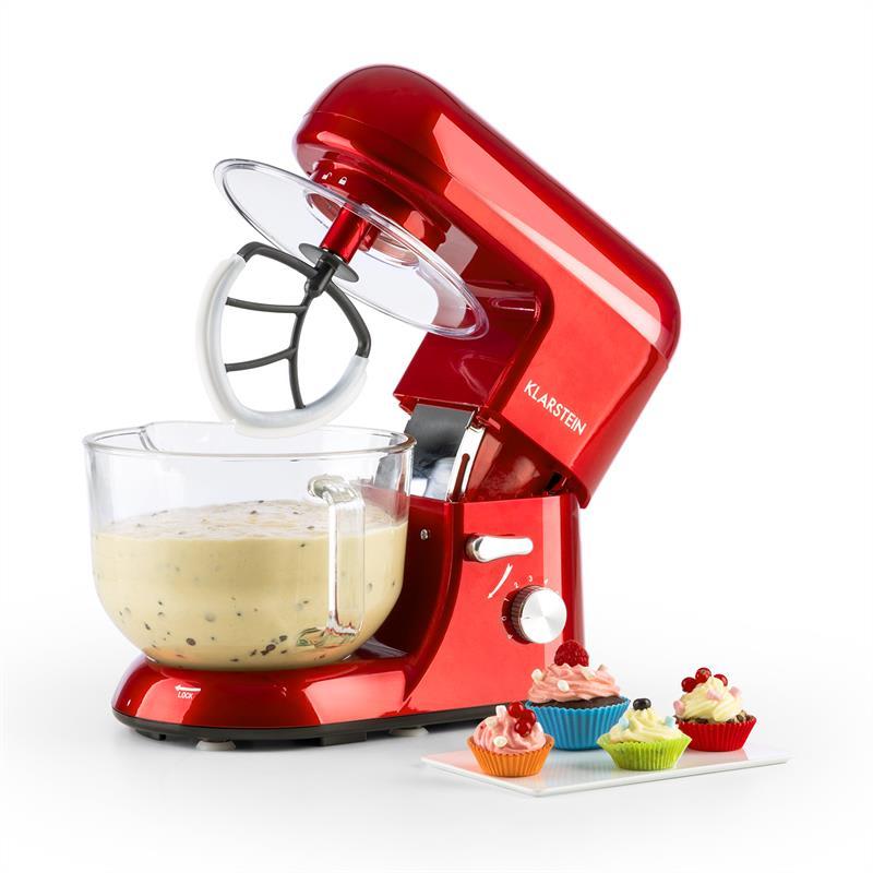 Klarstein Bella Rossa 2G, kuchyňský robot, 1200 W, 2,5 / 5,2 l, skleněná miska, červená barva (TK2-Rossa-2G)