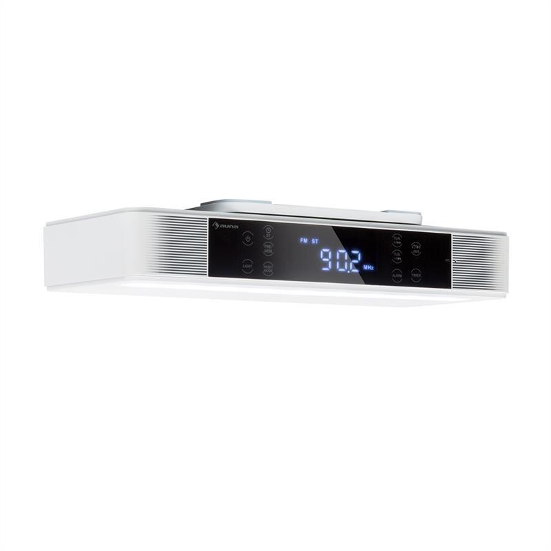 Auna KR-140, kuchyňské rádio, bluetooth, hands-free, FM, LED světla, bílé