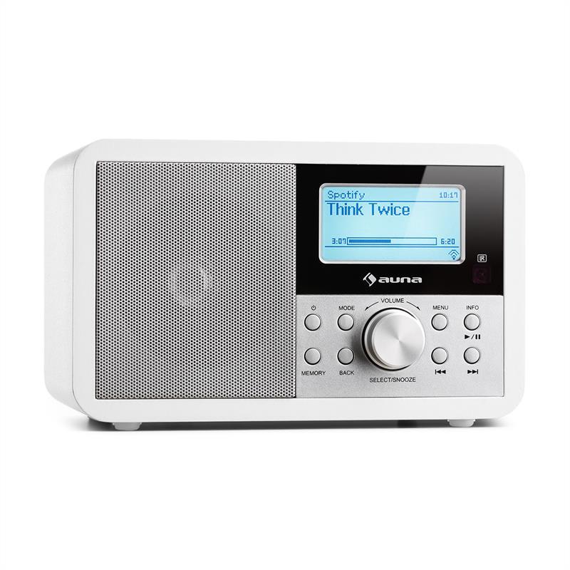 Auna Worldwide Mini, internetové rádio, WLAN, síťový přehrávač, USB, MP3, AUX, FM tuner, bílá barva