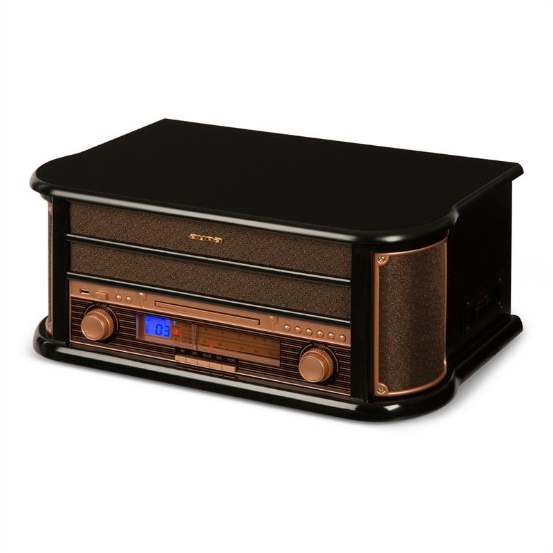 Auna Belle Epoque 1908, retro stereo systém, gramofon, rádio, USB, CD, MP3, mikrosystém